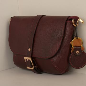 کیف دوشی چرم طبیعی زنانه مدل V189